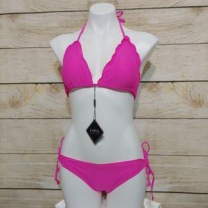 NWT Zaful Bright Pink Ruffle Bikini M/6